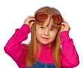 Little Girl With Big Sunglasses Royalty Free Stock Photo - 13928045