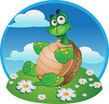 Smiling Fun Tortoise On Color Background Stock Image - 13955661