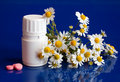 Jar Of Pills And Chamomile On A Blue Royalty Free Stock Image - 13961946