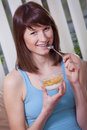 Happy Woman With Corn Flakes Royalty Free Stock Image - 13994066