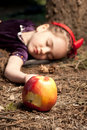 Snow White And Apple Litle Girl Stock Photos - 14000543