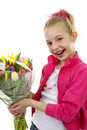 Girl With Bouquet Of Colorful Dutch Tulips Stock Photography - 14016252