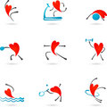 Fitness Heart Silhouettes Royalty Free Stock Photo - 14025795