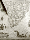 Antique Map And Manuscript Pen Royalty Free Stock Photo - 14065155