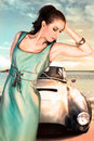 Woman And Old Car Stock Image - 14066261