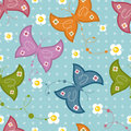 Seamless Pattern With Butterflies And Flowers Royalty Free Stock Photography - 14073347