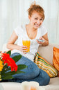 Beauty, Young Girl With A Glass Of Orange Juice Stock Photography - 14109842