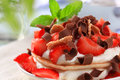 Pancakes With Quark And Strawberries Royalty Free Stock Image - 14111906