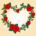 Red Rose Frame In The Shape Of Heart Stock Image - 14113951