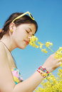Smelling Flowers Stock Image - 14122081