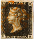 Penny Black With Red Postmark Stock Images - 14132364