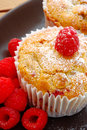 Fresh Raspberry Muffins On Plate Stock Photography - 14134842