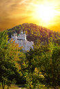 Church In Mountains Against The Gold Sky Royalty Free Stock Images - 14135119