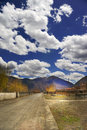 Mountain Road Sky Snow Stock Photography - 14150422