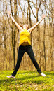 Happy Woman Jumping In Nature Stock Photo - 14163240