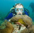 Scuba Diver Looking At Enemone Fish Stock Photos - 14168443