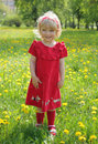 Little Girl In A Red Dress For A Walk Stock Photo - 14169710
