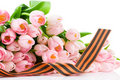 George Ribbon And Tulips Isolated On White Backgro Royalty Free Stock Photo - 14171695