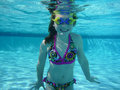 Young Girl Swimming Underwater Royalty Free Stock Photography - 14175997