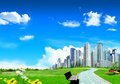 Grassland With City Royalty Free Stock Images - 14181089