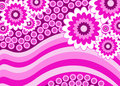 Pink Flowers Stripey Banner Royalty Free Stock Photography - 14187987