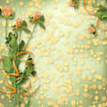 Paper For Congratulation With Bunch Of Clover Stock Image - 14255971