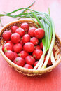 Wicker Basket With Fresh Radish And Onion Stock Image - 14261781