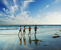 Jogging Along The Surf Royalty Free Stock Image - 1438466