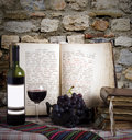 Wine Bottle And Old Books Stock Image - 1439041