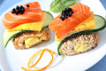 Two Caviare And Salmon Sandwiches Stock Photography - 14301152