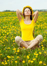 Woman In Dandelion Royalty Free Stock Image - 14306136