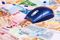 Computer Mouse Over Euro Banknotes. Stock Photo - 14324720