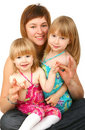 Mother With Two Daughters Stock Photography - 14340712