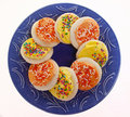 Yellow And Orange Frosted Sugar Cookies Royalty Free Stock Image - 14368976
