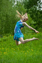 Jumping  Teen Girl Royalty Free Stock Images - 14383399