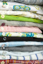 Stack Of Colored Shirt, Details Of Buttons Royalty Free Stock Photography - 14395597