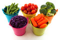Fresh Vegetables In Colorful Buckets Royalty Free Stock Images - 14448489