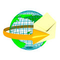 Envelope With Globe Over White Royalty Free Stock Images - 14474469