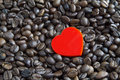 Red Heart On Coffee Beans Stock Image - 14488661