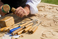 Craftsman Carving Wood Royalty Free Stock Photography - 14523507