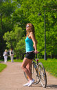 Woman With Bicycle Stock Image - 14640221
