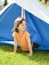 Little Girl 3 Years Old Coming Out From A Tent Stock Image - 14670231