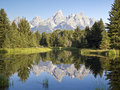 Tetons Reflection, Schwabacher\ S Landing, WY Royalty Free Stock Photography - 14681117