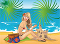 Girl On The Beach With Castle From Sand Royalty Free Stock Photos - 14683118