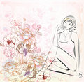 Girl Over Floral Background Stock Photography - 14698182