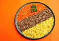 Red, Brown And Yellow Lentils Stock Photos - 14726133