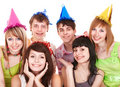 Group Of Teenager In Party Hat. Stock Photo - 14736090