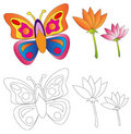 Butterfly & Flowers/coloring Book Stock Image - 14741441