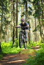 Cyclist In Forest Stock Photo - 14780860