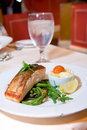 Pan Fried Salmon With Green Beans Royalty Free Stock Photos - 14874288